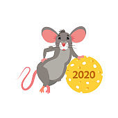 Happy Chinese new year 2020 greeting card with cute rat. Mouse in cartoon character vector.