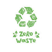 Zero waste  logo design template. Handwritten text title sign with green eco leaves.