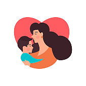 Mother and  son hugging. Mother's day card about mother's love and care.
