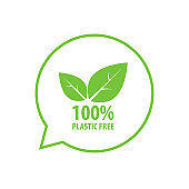 100% Plastic free icon simple design