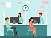 People at credit department in bank office vector illustration.