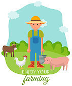 Farmer standing on green lown with farm animals banner, poster vector illustration. Smiling man in overalls and hat with bucket feeding pig, hen sand cow. Enjoy your farming.