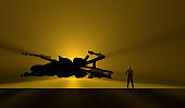Spaceship and Hero Pilot on Hangar Gate