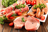 assorted raw meats on wood background