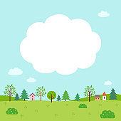 Summer nature and village landscape with cloud frame
