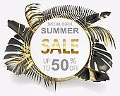 Vector advertising banner with gold and black tropical leaves and gold summer sales on white