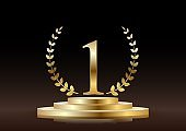 Winner round pedestal with golden number one symbol. Vector poster or banner template.