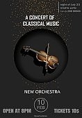 Vector poster for a concert of classical music with violin on the black background.