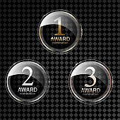 Award medal gold silver and bronze. Champion metal ward for winner. Vector on transparent background.