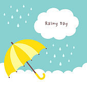 Yellow umbrella with raindrops on cloud background
