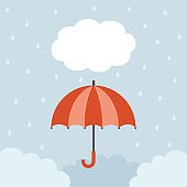 Red umbrella with raindrops on cloud background
