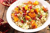 quinoa salad with pumpkin and pomegranate