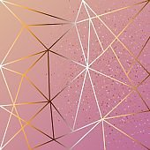 Copper metallic polygonal texture with bronze glitter triangles, geometric and diamond shapes. Vector