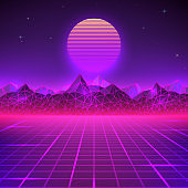 Retro landscape in purple colors. Futuristic planet neon mountains and sunset background. Sci-fi abstract geometric landscape. Vector illustration