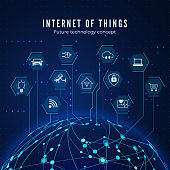 Internet of things. IOT concept. Global network connection. Monitoring and control smart systems. Vector illustration