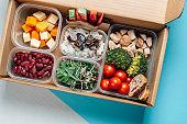 Healthy food in lunch box, minimal concept food work . Balanced nutrition