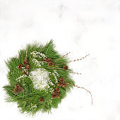Traditional Christmas decoration wreath with cones