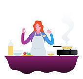 Happy female chef with gesturing OK.