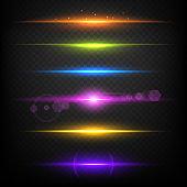 Line glow borders. Neon light illuminated linear burst vector template