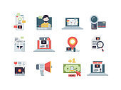 Marketing concept icon. Management of content email digital business blogging strategy performance writing vector symbols flat