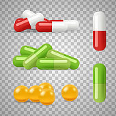 Realistic pills vector. Drugs, medications isolated on transparent background