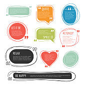 Quote frames. Text blog colorful information blocks sticky labels for web pages vector templates