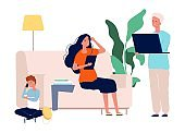 Gadget addiction. Family with laptop, tablet and smartphone. Parents and child spend time on Internet vector illustration