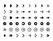 Web arrows. Symbols for website direction arrows signs buttons vector infographics icons