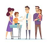 Family doctor. Pediatrician, vaccination vector illustration. Happy family and doctor characters. Kids immunization, medical help