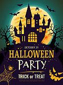 Halloween poster. Scary party invitation flyer template with horror symbols pumpkin bones skull vector halloween background