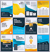 Business flyer template. Colored pages of ads product brochure with place for text vector design collection