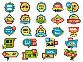 Round sale stickers. Promo tags or badges best price vector advertising stickers collection