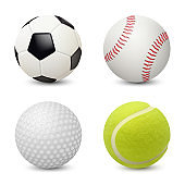 Sport balls. Baseball football tennis golf vector realistic sport equipment