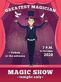 Magic poster invitation. Circus magician show placards vector template red curtains shows of wizard tricks vector background