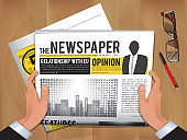 Newspaper in hands. Daily news businessman hold and reading hot announce in newspaper cover vector template