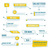 Callout banners. Digital labels social boxes text templates chart boards vector infographics