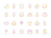 Colored dessert icons. Birthday sweets cakes candy tiramisu delicious food jelly ice cream vector symbols