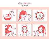 Hair Coloring Process. Steps Of Young Woman Coloring Her Own Hair From Brunette to Blonde At Home, Monochrome