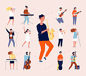 Music persons. Rock classical musical performing musicians singing and playing orchestra instruments guitar drum violin vector flat