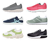 Sneakers shoes. Sport fitness healthy footwear running boots big feet vector stylish realistic pictures