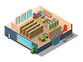 Supermarket interior. Cross section of retail market building mall with equipment and grocery sections 3d low poly isometric vector