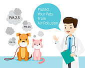 Male Veterinarian With Dog And Cat Wearing Air Pollution Mask For Protect Dust PM2.5