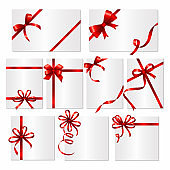 Gift cards ribbons. Frames or banners with red silk ribbons and bows vector template