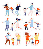 Dancing family. Kids playing and dancing with parents mother father children dancers vector characters collection