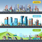 Town flat. Ecology industrial smart city architectural objects different buildings factory vector horizontal illustrations