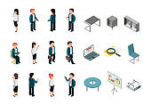 Business people isometric. Office corporate supplies furniture managers directors vector collection