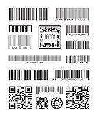 Qr code. Bar code scanning product symbols laser code message vector set