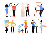 Creative profession. Hobby artists painters sculptors decorators creative workers vector characters