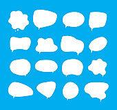 White bubbles talk. Speech bubbles different shapes on blue background comment clouds shouting voice vector pictures
