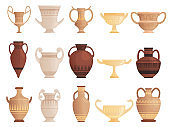 Old ancient vessel. Clay jug cups and amphoras with patterns ceramics antique jug vector pictures